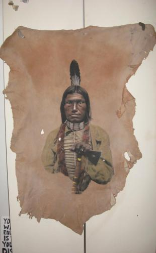 From Edward S Curtis painted on deerskin by Don Matteson
