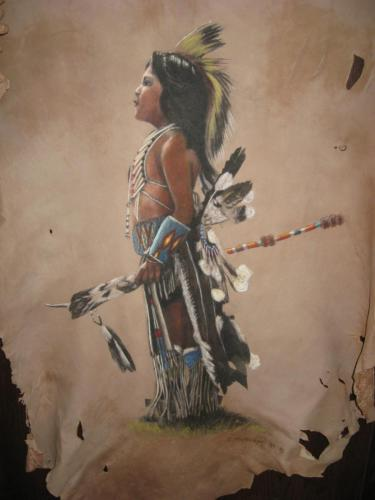 """Toby""   Originally By Deanna Matteson Painted on Deerskin by Don Matteson"