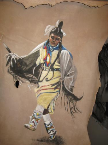 The Glorious Dancer  Originally By Deanna Matteson Painted on Deerskin by Don Matteson