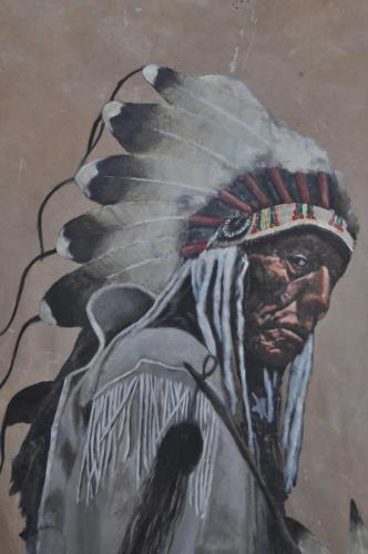 """The Old Cheyenne on Deerskin"" Photograph by Edward S CurtisPainted on Deerskin by Don Matteson"